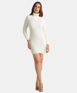 Cable Front Swtr Dress Egret